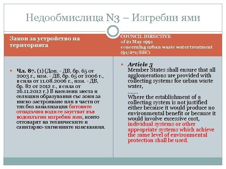 Недообмислица N 3 – Изгребни ями Закон за устройство на територията COUNCIL DIRECTIVE of
