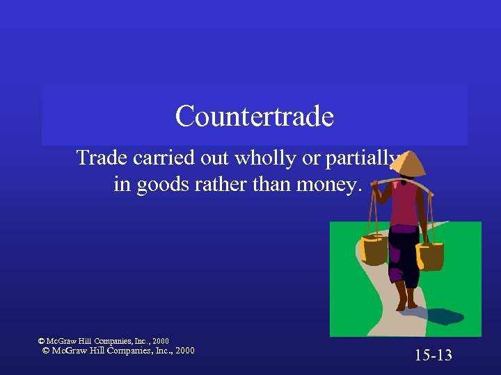 Countertrade Trade carried out wholly or partially in goods rather than money. © Mc.