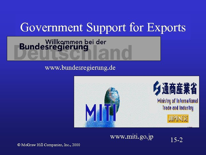 Government Support for Exports www. bundesregierung. de www. miti. go. jp © Mc. Graw