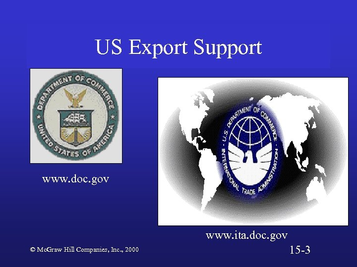 US Export Support www. doc. gov www. ita. doc. gov © Mc. Graw Hill