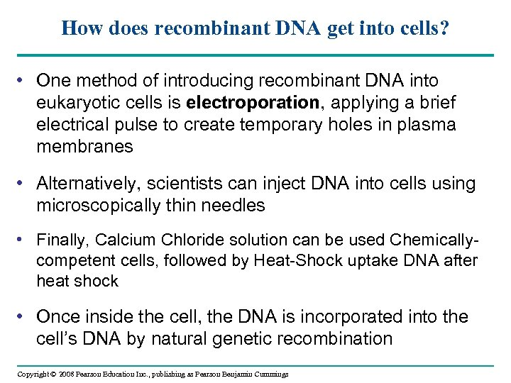 How does recombinant DNA get into cells? • One method of introducing recombinant DNA
