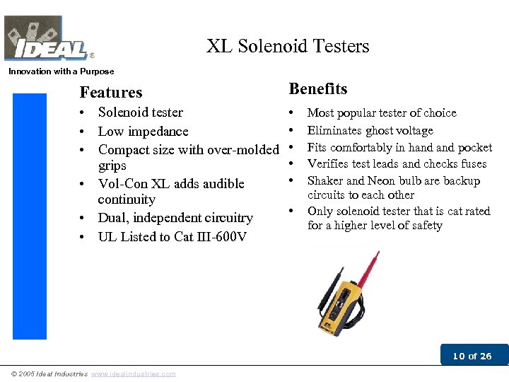 XL Solenoid Testers Innovation with a Purpose Features Benefits • Solenoid tester • Low