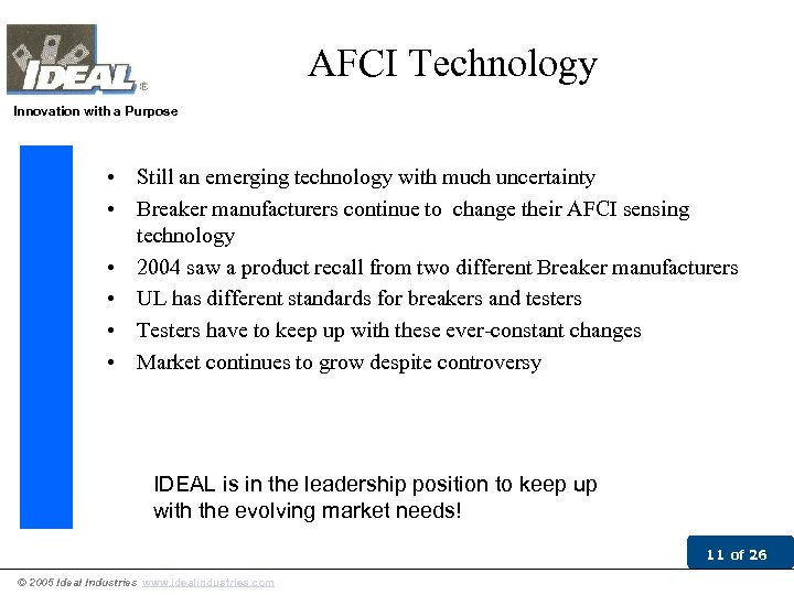 AFCI Technology Innovation with a Purpose • Still an emerging technology with much uncertainty