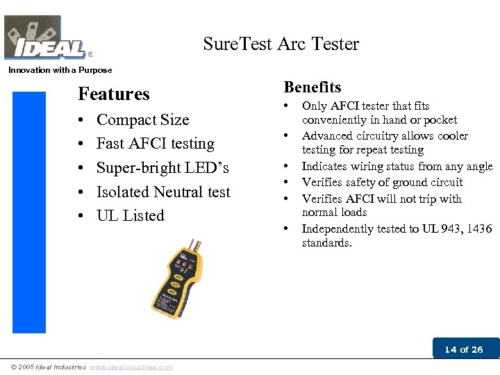 Sure. Test Arc Tester Innovation with a Purpose Features • • • Compact Size