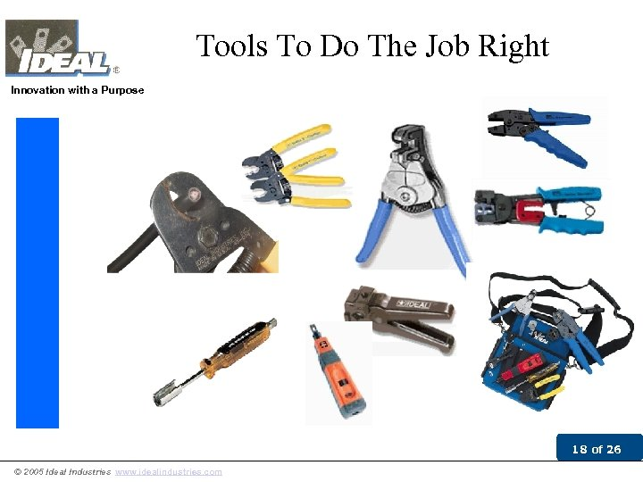 Tools To Do The Job Right Innovation with a Purpose 18 of 26 ©