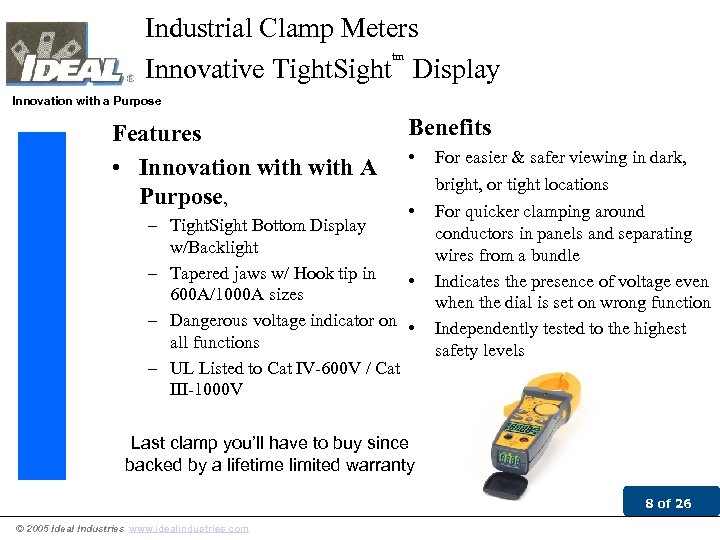 Industrial Clamp Meters tm Innovative Tight. Sight Display Innovation with a Purpose Features •