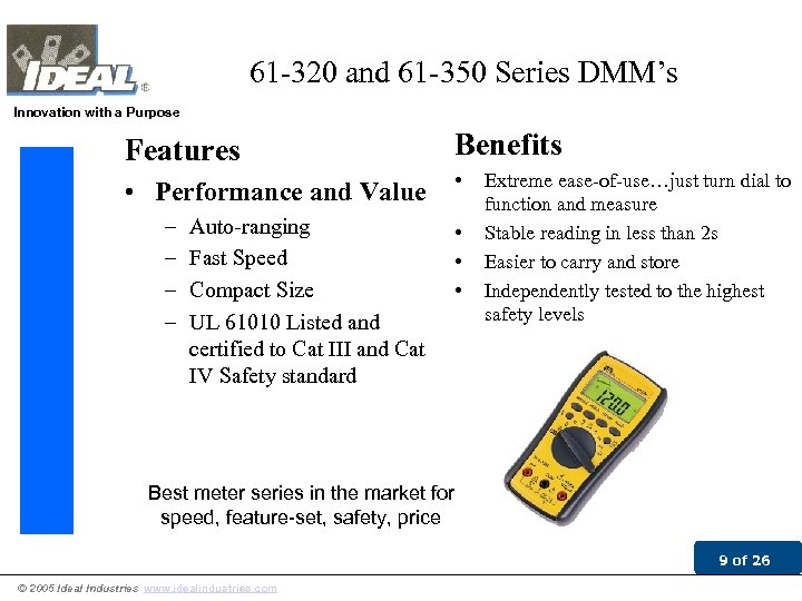61 -320 and 61 -350 Series DMM's Innovation with a Purpose Features Benefits •