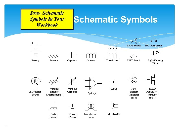 Draw Schematic Symbols In Your Workbook Schematic Symbols + Battery SPDT Switch Resistor Capacitor