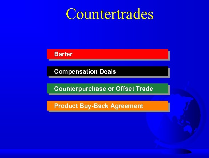 Countertrades Barter Compensation Deals Counterpurchase or Offset Trade Product Buy-Back Agreement