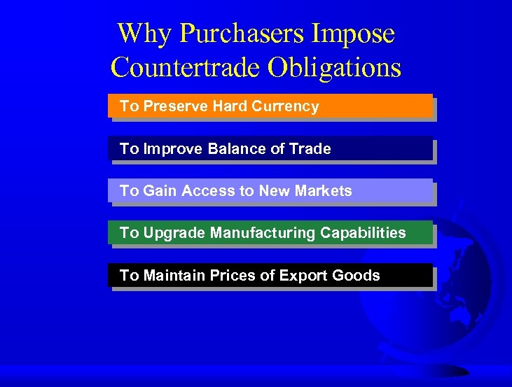 Why Purchasers Impose Countertrade Obligations To Preserve Hard Currency To Improve Balance of Trade