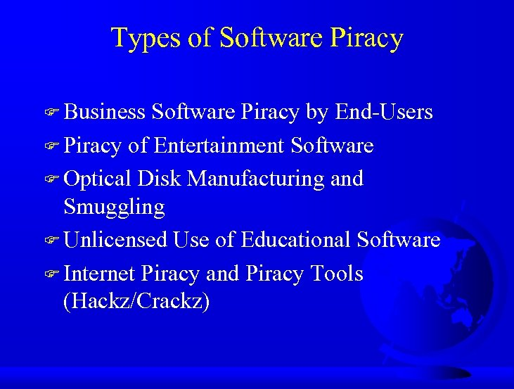 Types of Software Piracy F Business Software Piracy by End-Users F Piracy of Entertainment