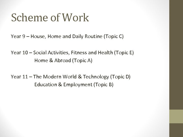 Scheme of Work Year 9 – House, Home and Daily Routine (Topic C) Year