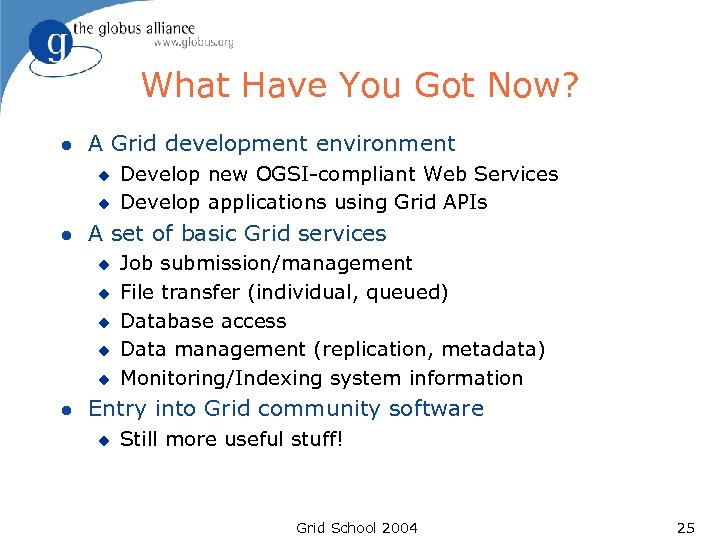What Have You Got Now? l A Grid development environment u u l A
