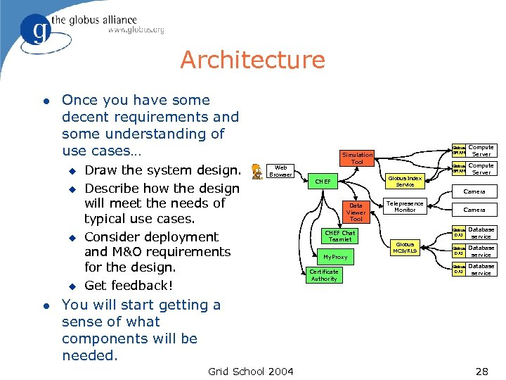 Architecture l Once you have some decent requirements and some understanding of use cases…
