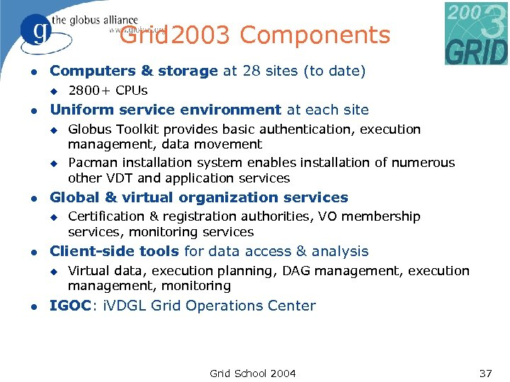 Grid 2003 Components l Computers & storage at 28 sites (to date) u l