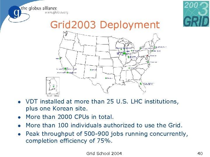 Grid 2003 Deployment l l VDT installed at more than 25 U. S. LHC