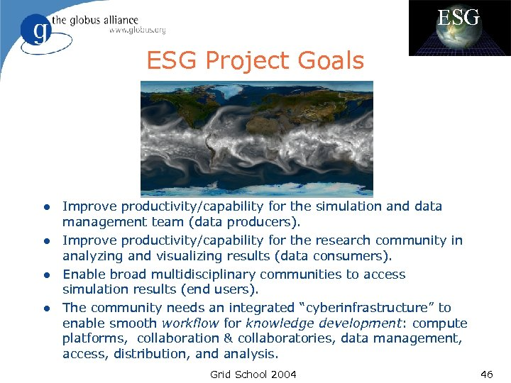 ESG Project Goals l l Improve productivity/capability for the simulation and data management team
