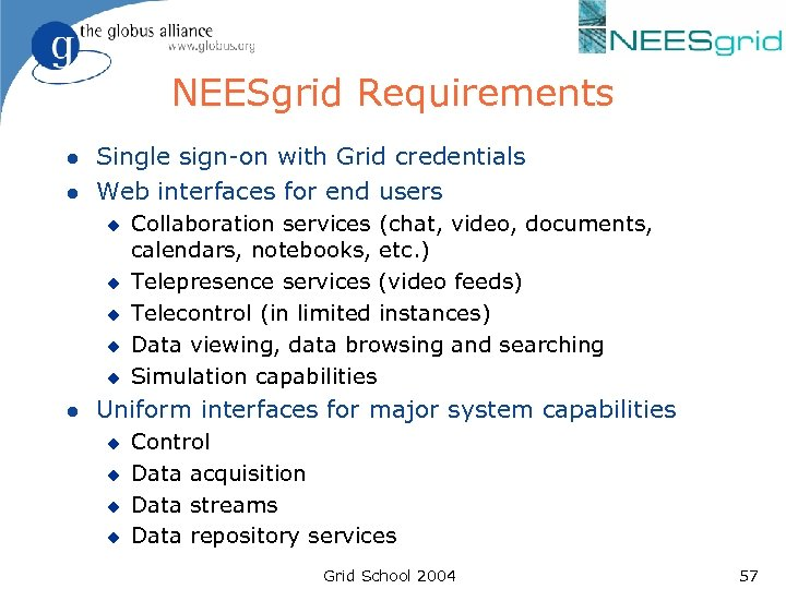 NEESgrid Requirements l l Single sign-on with Grid credentials Web interfaces for end users