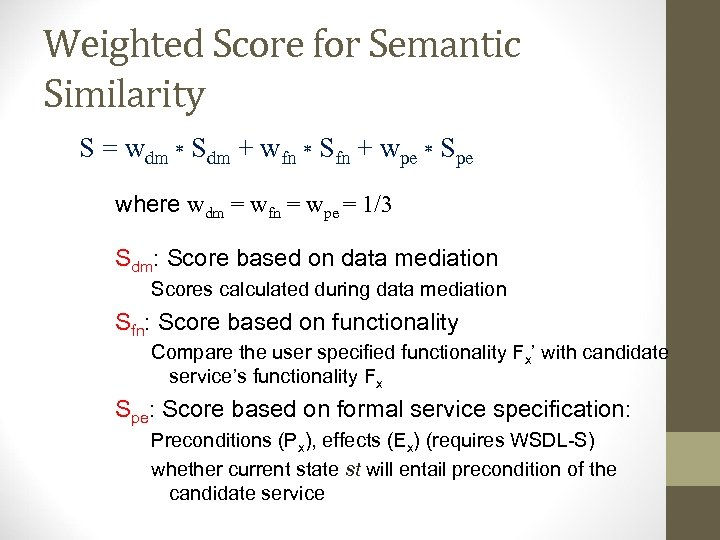 Weighted Score for Semantic Similarity S = wdm * Sdm + wfn * Sfn