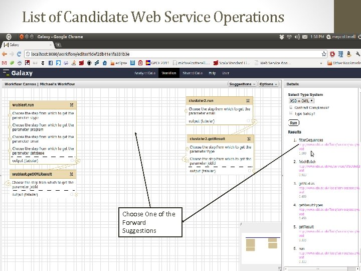 List of Candidate Web Service Operations Choose One of the Forward Suggestions