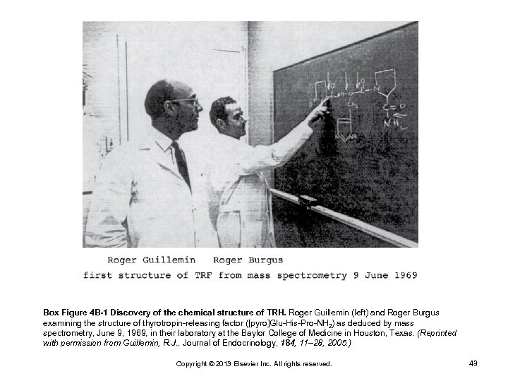 Box Figure 4 B-1 Discovery of the chemical structure of TRH. Roger Guillemin (left)
