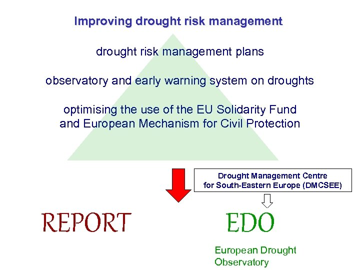 Improving drought risk management plans observatory and early warning system on droughts optimising the