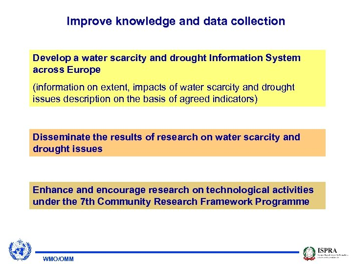 Improve knowledge and data collection Develop a water scarcity and drought Information System across