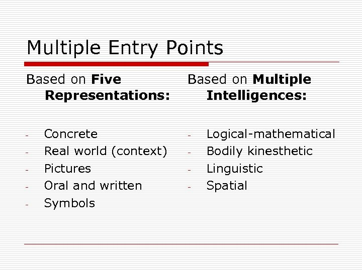 Multiple Entry Points Based on Five Representations: - Concrete Real world (context) Pictures Oral