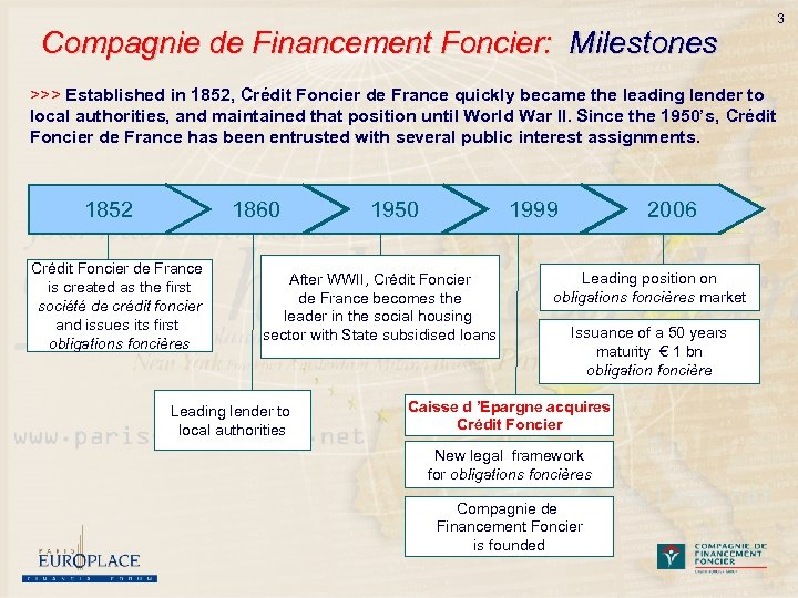 Compagnie de Financement Foncier: Milestones 3 >>> Established in 1852, Crédit Foncier de France