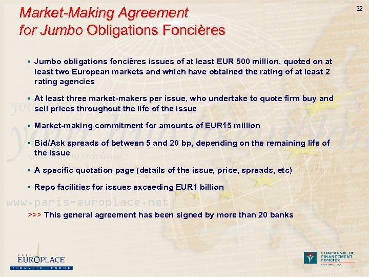 Market-Making Agreement for Jumbo Obligations Foncières § Jumbo obligations foncières issues of at least