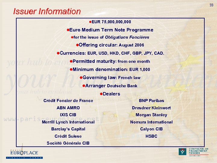 33 Issuer Information l. EUR 75, 000, 000 l. Euro Medium Term Note Programme