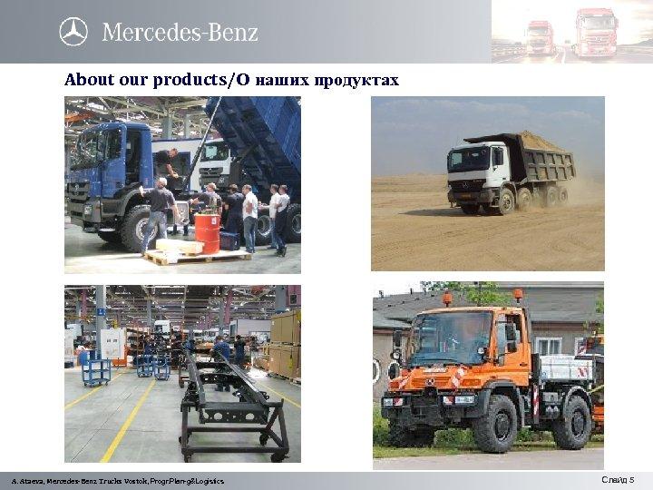 About our products/О наших продуктах w A. Ataeva, Mercedes-Benz Trucks Vostok, Progr. Plan-g&Logistics Слайд