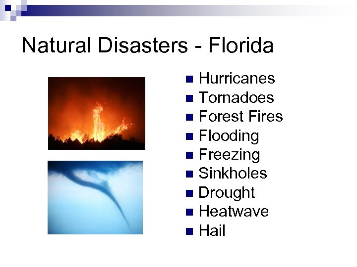 Natural Disasters - Florida Hurricanes n Tornadoes n Forest Fires n Flooding n Freezing