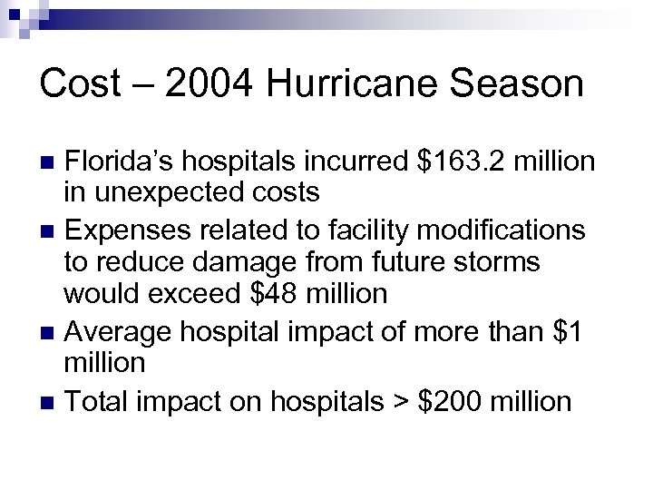 Cost – 2004 Hurricane Season Florida's hospitals incurred $163. 2 million in unexpected costs