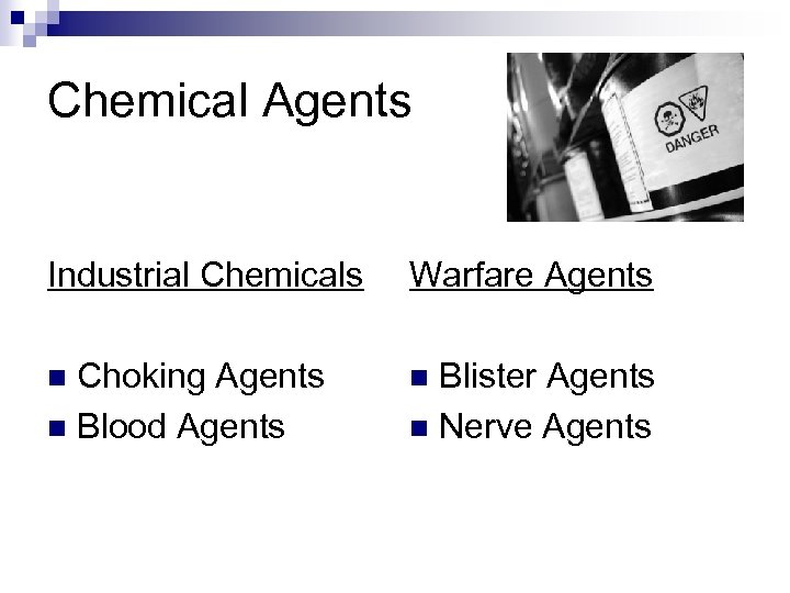 Chemical Agents Industrial Chemicals Warfare Agents Choking Agents n Blood Agents n n Blister
