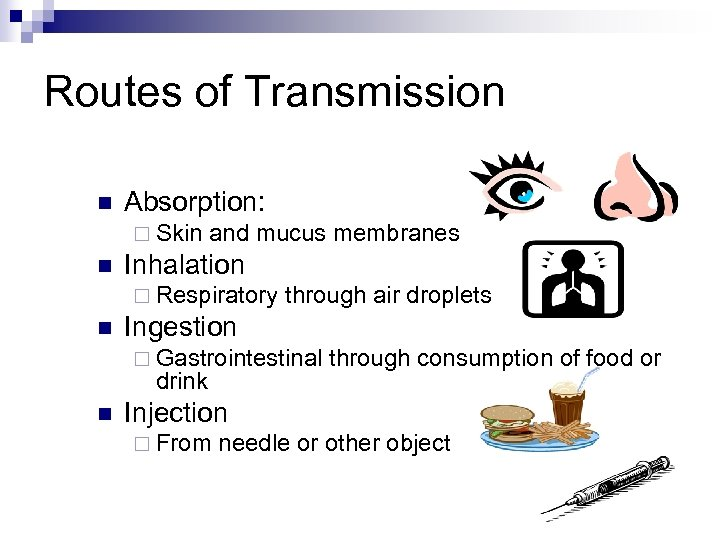 Routes of Transmission n Absorption: ¨ Skin n and mucus membranes Inhalation ¨ Respiratory