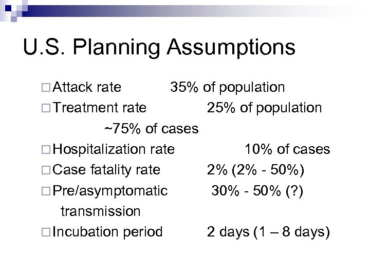 U. S. Planning Assumptions ¨ Attack rate 35% of population ¨ Treatment rate 25%