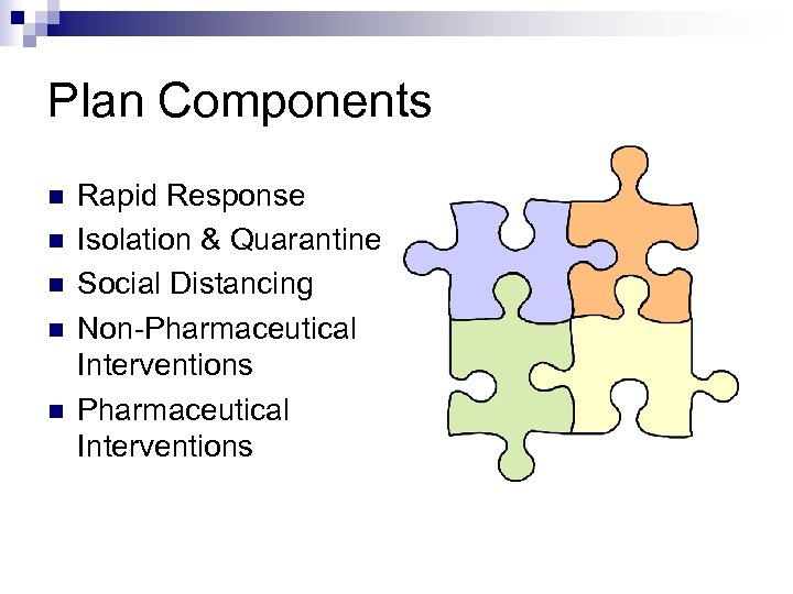 Plan Components n n n Rapid Response Isolation & Quarantine Social Distancing Non-Pharmaceutical Interventions