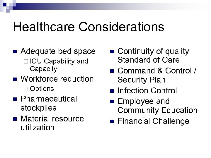 Healthcare Considerations n Adequate bed space Capability and Capacity n ¨ ICU n Workforce