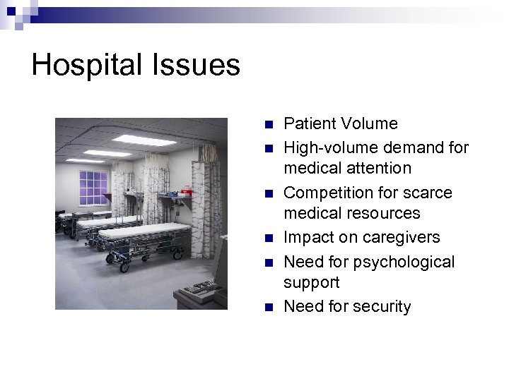 Hospital Issues n n n Patient Volume High-volume demand for medical attention Competition for