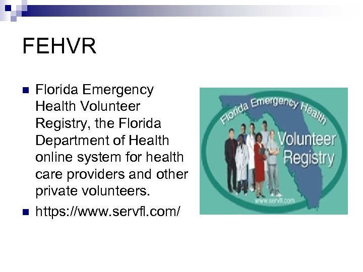 FEHVR n n Florida Emergency Health Volunteer Registry, the Florida Department of Health online