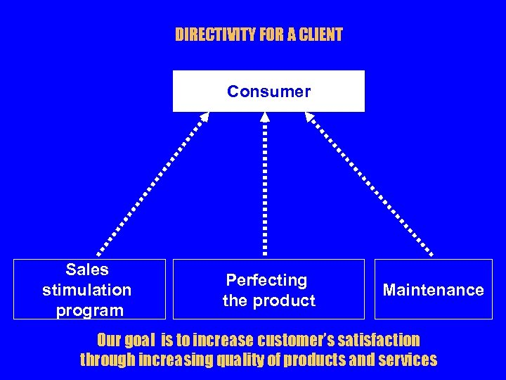 DIRECTIVITY FOR A CLIENT Consumer Sales stimulation program Perfecting the product Maintenance Our goal