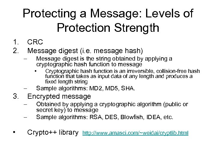 Protecting a Message: Levels of Protection Strength 1. 2. CRC Message digest (i. e.