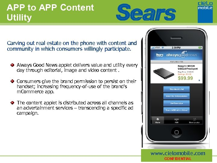 APP to APP Content Utility Carving out real estate on the phone with content