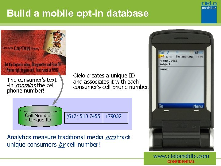 Build a mobile opt-in database The consumer's text -in contains the cell phone number!