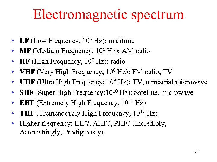 Electromagnetic spectrum • • • LF (Low Frequency, 105 Hz): maritime MF (Medium Frequency,