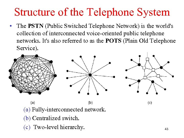 Structure of the Telephone System • The PSTN (Public Switched Telephone Network) is the