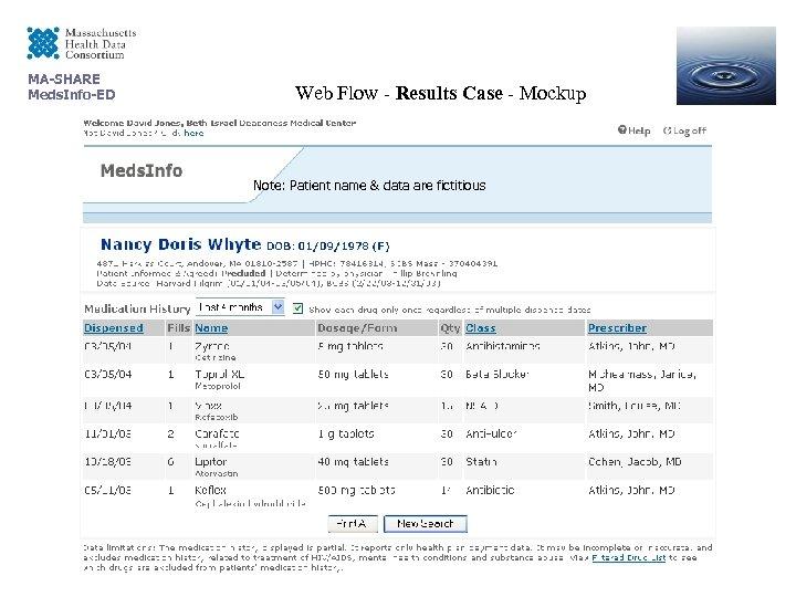 MA-SHARE Meds. Info-ED Web Flow - Results Case - Mockup Note: Patient name &