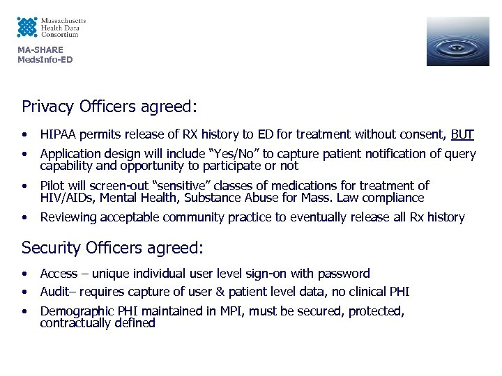 MA-SHARE Meds. Info-ED Privacy Officers agreed: • HIPAA permits release of RX history to