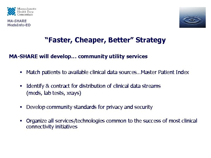 """MA-SHARE Meds. Info-ED """"Faster, Cheaper, Better"""" Strategy MA-SHARE will develop… community utility services §"""